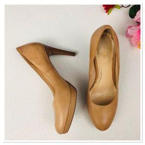 Cole Haan nude leather Nike air platform heels